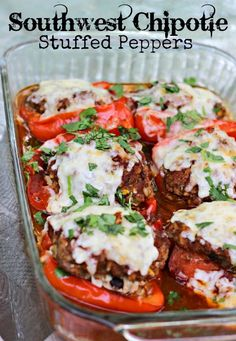 Southwest Chipotle Stuffed Peppers: takes the stuffed pepper and kicks it up a notch! #stuffedpeppers #southwest