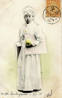 A Japanese Nurse holding bandages and a jar containing something vile, I am not sure what is in large envelope, it is a bit early to be an x-ray. This postcard was sent during the Russo-Japanese War, which was fought 10 February 1904 - 5 September 1905.