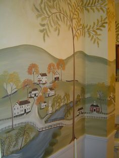 Wall mural by R. L. Smith in the Rufus Porter style.