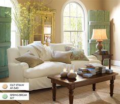 what color to downplay pinky beige carpet?  you are left with (besides pink) green, blue, purple, or grays with those undertones.  Most people don't want main areas purple or blue but green which makes the carpet look more pink.  to downplay pinky beige you need gray tones (with green or even pink undertones but grayed down) Natural Linen, Manchester Tan, Smoky Taupe, Revere Pewter. other option paint walls dark dramatic colour (anything except yellow) so much contrast carpet look neutral. Potterybarn, Living Rooms, Couch, Barn Doors, Color, Shutter, Barns, Live Room, Pottery Barn