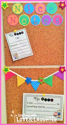 Teaching With Love and Laughter: Nice Notes Display