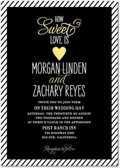 Sparkle and shine with these sweetheart Wedding Invitations. | Find more wedding invitation templates at www.WeddingPaperDivas.com