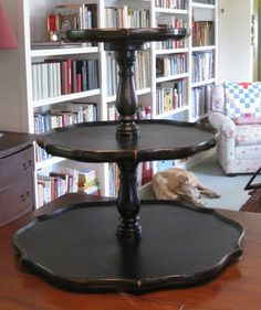 Before and After: 3-Tier Turntable from an antique piecrust table and lazy susan | Just Something I Made