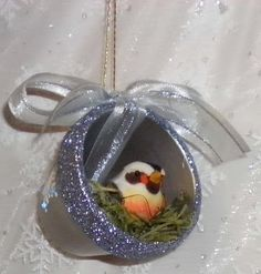 †Bird's Nest clay pot Christmas ornament - oh I HAVE to make some of these this year!