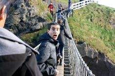 Josh Tubbs '14 at Carrick-a-Rede Rope Bridge in Northern Ireland. Oct. 2012. (Photo by Nicole Egan '14)