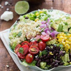 A Tex Mex quinoa salad with a cilantro lime vinaigrette. Healthy and delicious!