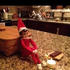 elf on a shelf : making smores