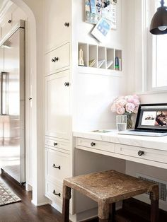 Love these built-ins in the kitchen for a little office area