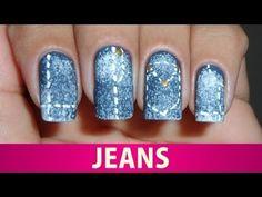 Unhas Decoradas de Jeans - YouTube