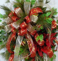 XL Woodsy Christmas Door or Wall Wreath by LadybugWreaths, $199.97