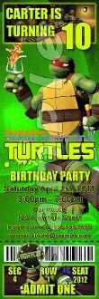 TEENAGE MUTANT NINJA TURTLES TICKET INVITATIONS (WITH ENVELOPES)$15.00