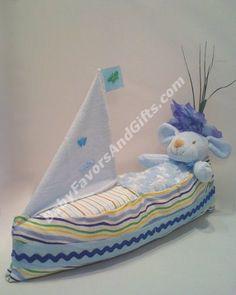 Sail Boat Diaper Cake - 9990082 - Baby Boy - Diaper Cakes - by Babyfavorsandgifts