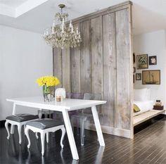 Reclaimed wood room divider for studio apartment + chic dinning room. studio apartments, barn, studio apt, loft, wall dividers, small spaces, bedroom, wood walls, room dividers