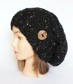 Black Tweed slouch hat women  beanies hat  Slouch by Johannahats, $41.00