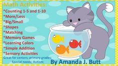 Fish Bowl Math Activities for Preschool; Pre-K; Kindergarten; Autism; Special Education; Homeschool;