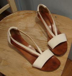 White Leather Sandals- Chic Summer Wedge. $24.00, via Etsy.