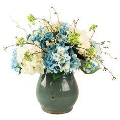 Faux Blue & Cream Hydrangea