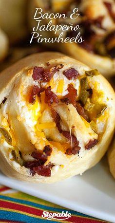Cheesy Bacon Jalapeño Pinwheels #stepable #recipes