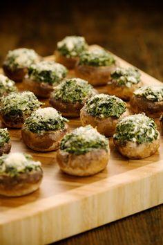 mushroom recipes, spinach stuf, food, stuffed mushrooms, cheesestuf mushroom, retro recipes, paula deen, green onions, parti