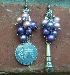 August 2014 Challenge - Asymmetrical Earrings. Elvis Tribute by Okie Market