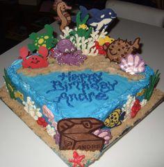 creatur cake, sand, sea creatures, cake stuff, cake decor