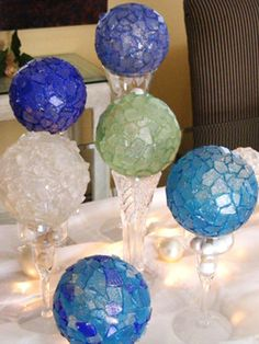 clear shatterproof Christmas balls, sea glass, clear silcone adhesive and tile nips