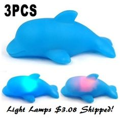 Set of 3 LED Colorful Changing Flashing Dolphin Light Lamps $3.08 Shipped! - http://couponingforfreebies.com/set-3-led-colorful-changing-flashing-dolphin-light-lamps-3-08-shipped/