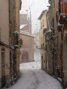 Snowy Day, Barcelona, Spain