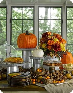 table decorations, buffet tables, fall decor, fall table, decorating blogs, thanksgiving table settings, harvest tables, fall harvest, desert tables