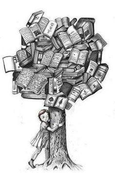 Reading tree books, tree hugger, art, book tree, librari, read, trees, bookworm, libro