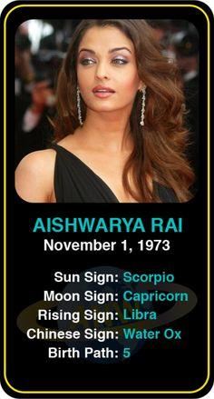 Celeb #Scorpio birthdays: Aishwarya Rai's astrology info! Sign up here to see more: https://www.astroconnects.com/galleries/celeb-birthday-gallery/scorpio?start=30  #astrology #horoscope #zodiac #birthchart #natalchart #aishwaryarai