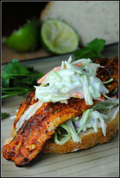 Open-faced catfish sandwich with slaw