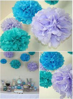 "3 DIY Tissue Paper Poms, 12""-20"" diameter, custom for your needs, wedding, bridal shower, nursery, paper kissing balls,"