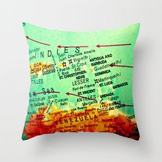 Map Pillow St Lucia Martinique Puerto Rico St by VintageBeachMaps, $38.00