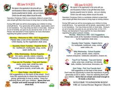 VBS with Operation Christmas Child.  Sample idea, add your OCC suggestion list on back.