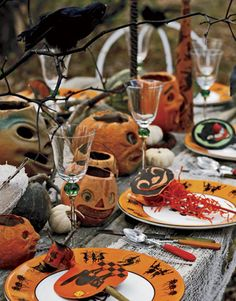 A vintage halloween table setting.