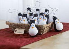 lightbulb ornaments, penguin ornament