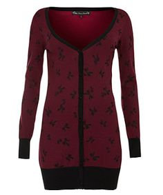 burgundi bow, bow print, print cardigan