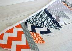 Bunting Photo Prop Fabric Flags  - Gray, Orange and Navy Blue Chevron - Ready to Ship. $32.50, via Etsy.
