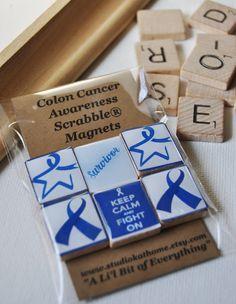 Colon cancer awareness Scrabble® Magnets  https://www.etsy.com/listing/102806731/colon-cancer-awareness-scrabble-magnets