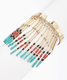 Gold & Turquoise Beaded Arm Cuff