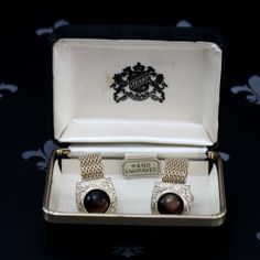 STRAND Vintage Gents Gold Mesh Wraparound Cufflinks Brown Stones Original Box