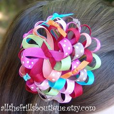 ribbon flower bows, hairbow, craft, homemade hair bows, ribbons and bows, hair bows diy ribbon, hair accessori, bing imag, bow instruct