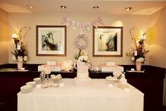 ADORABLE christening for a sweet baby girl. Love the symmetry, soft colors, & vintage bunny theme!
