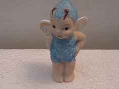 "Vintage Bisque Coralene Blue Butterfly Fairy Pixie Snow Baby ""Japan""Pat 16977 | eBay"