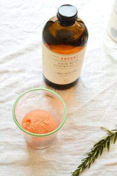 Tonic and bood orange sorbet make a yummy gin float.  \\  www.cupcakesandcutlery.com