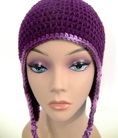 Purple Earflap Hat with Contrasting Trim $30.00