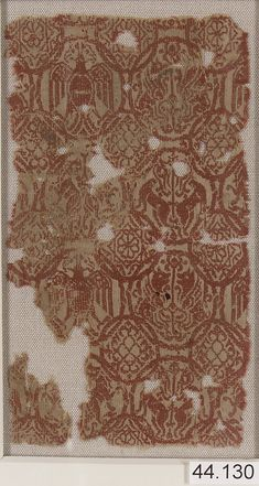Fragment 13th century spain silk, tapestry-woven