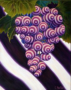"Looks 'Zentangle Inspired' using Bunzo ~  ""Grape de Menthe"", A fun ""twist"" on grapes, 24x30 acrylic on gallery wrap canvas ©Sandi Whetzel, $1495.  Prints available.  #wine #abstract #art"