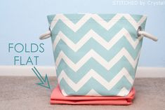 DIY Fabric Storage Basket...with handles! --- Make It and Love It